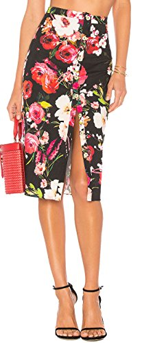 BOCOTUBE Women's Summer Floral Print Front Button Split Dress Pencil Midi (Pretty Floral Skirt)