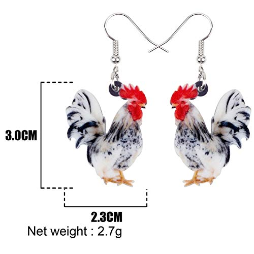 IUTING Acrylic Floral Rooster Chicken Earrings New Long Dangle Drop Fashion Fowl Farm Animal ()