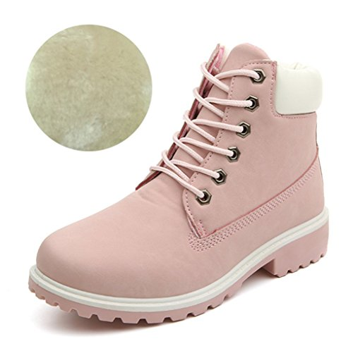 LOVEBEAUTY Women's Lace Up Low Heel Combat Boots Ankle Bootie Pink US 9(EU 41)