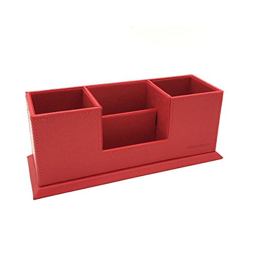Stockholm Desk Phone - UnionBasic 4 Compartment Desk Organizer - Dual Pen Holder - Card/Pen/Pencil/Mobile Phone Office Supplies Holder (Red)