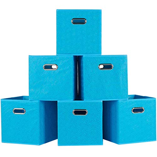 SHACO Durable Double Metal Handle Cloth Storage Cubes, Blue Foldable Storage Bins Fabric Drawers with Rose Print(6 Packs) ¡
