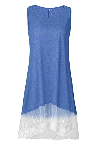 Col Tops Bleu Lace Sans Robe Tunic Haut Rond Manches Tunique Dentelle Femme Shirt Casual Ourlet t Longue Lache xqSTwt7nY