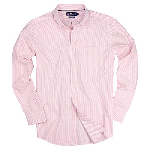 Long Sleeve Striped Button Down Cotton Oxford Shirts for Men (Pink Stripe, Regular Fit: Medium)