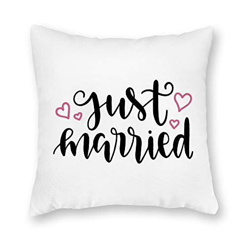 (DKISEE Decorative Just Married Square Throw Pillow Cover Canvas Pillow Case Sofa Couch Chair Cushion Cover for Home Decor )