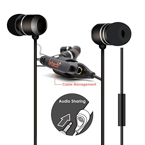 letech+ ISHARE in-Ear Wired Earbuds Headphone with Mic and Remote,Audio Splitter,Stereo Sound for iPhone Android Devices (Sleek Style Black)