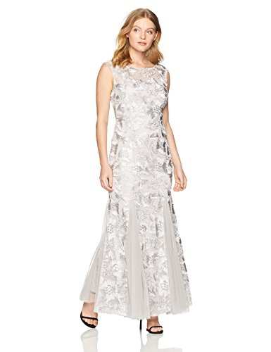 Alex Evenings Women's Petite Embroidered Dress with Illusion Neckline, Platinum, 12P