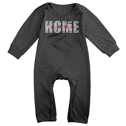UGFGF-S Vintage Fade Home Chicago Flag Long Sleeve Infant Baby Unisex Baby Bodysuit for 6-24 Months Bodysuit