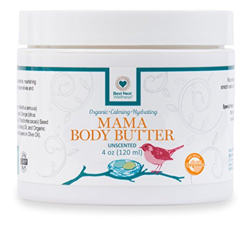 Best Nest Mama Body Butter | 100% Organic, Stretch Mark Prevention Cream & Intensive Moisturizer, Unscented, 4 Oz