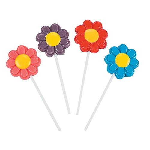 Fun Express Bright Flower Suckers - 1 dozen - Cute Spring Party Favors and Decorations - Novelty Candy