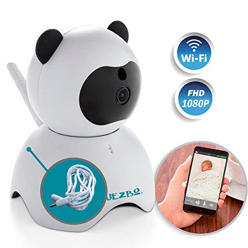 Speakers Clarity Outdoor (Wireless 1080P Security Camera by JEZBO + 5 ft EXT CORD + LAN CABLE BUNDLE - Indoor Home Surveillance System WiFi, Motion Detector, Baby, Pet, Nanny, Spy Cam Monitor, Hidden, HD, Infrared, Cute Panda)