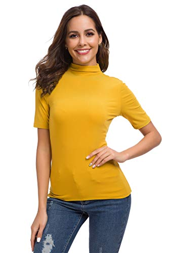 Women's Basic Long/Short Sleeve High Turtle Mock Neck/Crew Neck Slim Fit Rayon Plain Tees Shirts Top