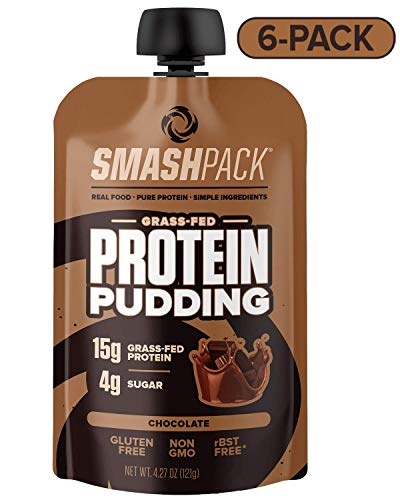 (SmashPack Chocolate Protein Pudding Pouch 6 Pack | 15g Grass-Fed Protein, 4g Sugar | Keto Friendly, Gluten Free, Soy Free, Non-GMO, Low Carb Snack, Hormone Free | BPA Free Packaging | 4 oz Pouches)