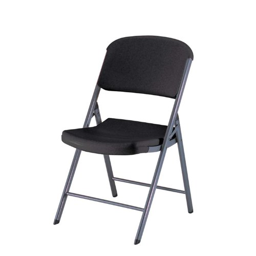 Lifetime 80187 Classic Commercial Folding Chair, Black with Gray Frame, (Oval Set Folding Chair)