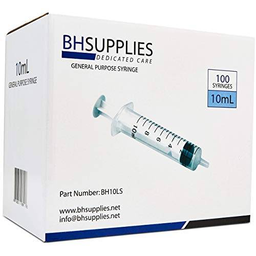 10ml Syringe Sterile with Luer Slip Tip, BH SUPPLIES - (No Needle) Individually Sealed - 100 Syringes (With Tip Slip Syringe Ml 10)