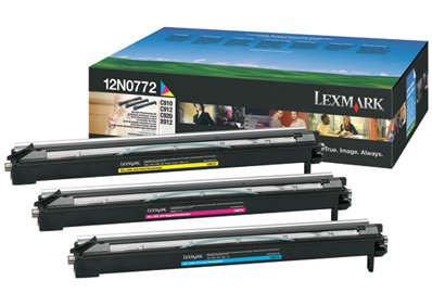 Lexmark 12N0772 OEM Developer - C910 C912 C920 X912e Color Photodeveloper Set (28000 Yield per Color - C/M/Y) - Photodeveloper Set