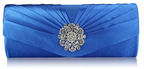 Ladies Satin Evening Clutch Bag Wedding Party Prom Floral Crystal Women Handbags Pleated New Design Design 1 - Blue