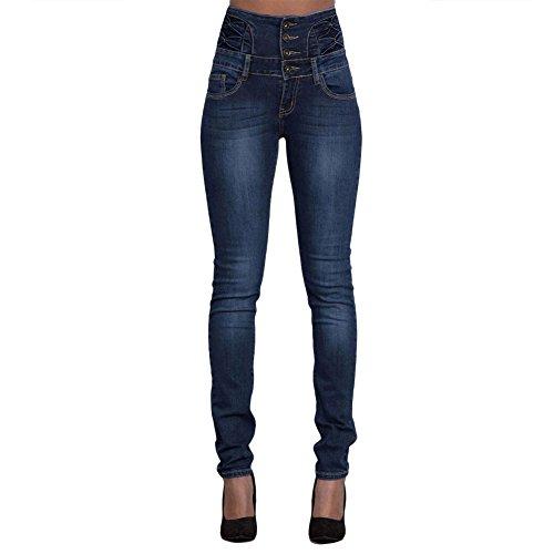WintCO Blue-Jeans Taille Haute Femmes Amincissant Jeans Elastique Slim Pantalons Sexy Collant Droit Blue-Jeans 2 Couleurs Bleu Sombre