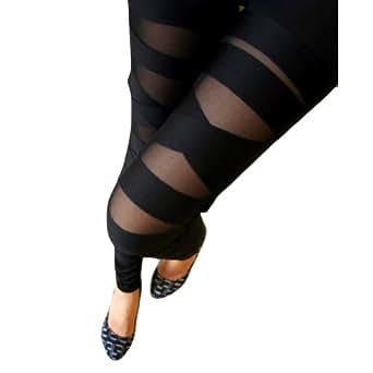 LOCOMO Women Half Mesh Inset Stripes Footless Legging FFT051 Black S-M