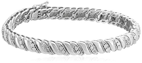 Sterling Silver Diamond Miracle Plate San Marco Bracelet (1/10 cttw, I-J Color, I2-I3 Clarity), - Link Marco San