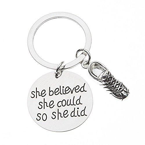 Express Gear Womens Girl (Runner Keychain, Runner She Believed She Could So She Did Keychain, Runner Gift)