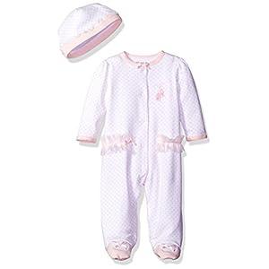 Little Me Baby-girls Newborn Prima Ballerina Footie and Hat, White/Pink, 6 Months