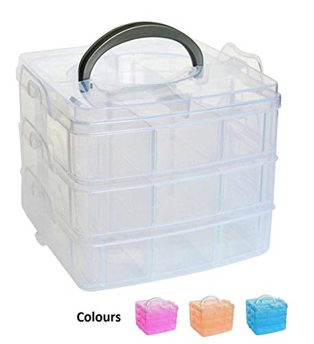 SKYFUN (LABEL) Multipurpose Plastic Medicine Pill First Aid Jewellery Hardware Garage Tools Storage Box Kit with Compartments, Handle (3 Layer-18 Grid)