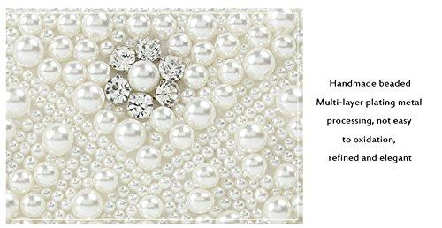 à Petit Soirée main la bandoulière blanc LLXY Femme sac en Mode Perles bandoulière fait dragonne vintage sacs d'embrayage Anzwtqpq8x