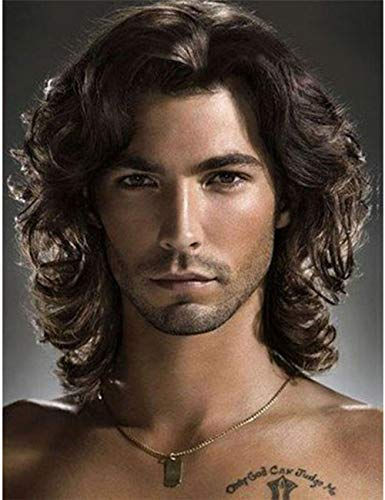 80s Male Hair (TopWigy Mens Wigs Dark Brown Curly Wave Wig Heat Resistant Hair Wigs Natural Looking Costume Party Male)