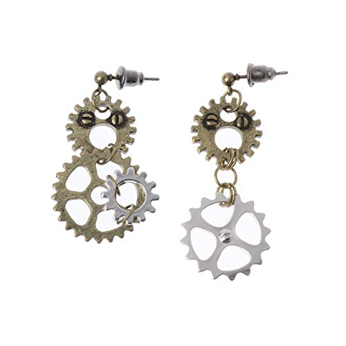 LoXTong Women Steampunk Antique Women Gear Pendant Dangle Long Hook Earring Club Jewelry
