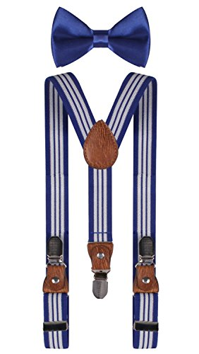 Kids Olympic Blue Apparel (BODY STRENTH bow tie royal blue suspenders and bow ties Royal Blue White)