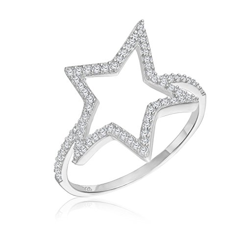 Tilo Jewelry Sterling Silver Star Shape CZ Ring (7) (Sterling Silver Star Shape)