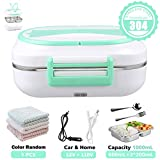 ElementDigital Electric Heating Lunch Box Car-use Food Heater 12V and 110V Dual Use Portable Lunch Warmer with Removable Stainless Steel Container for Car Office Home (Green)