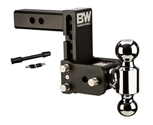 (B&W Hitches TS10038B Black Tow and Stow Adjustable Dual Ball Mount Receiver Hitch and 5/8in Chrome Receiver Hitch Lock Bundle)