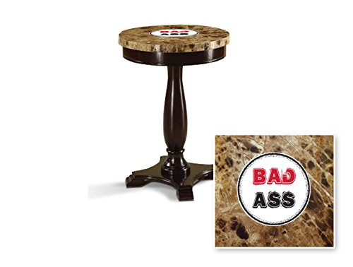 New Round Top Espresso / Cappuccino Finish Night Stand End Table with Faux Marble Table Top featuring Bad Ass Theme