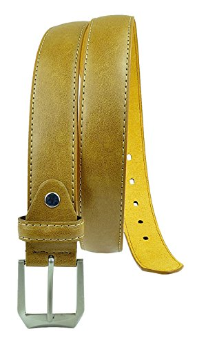 Rounded Square Buckle Belt (Moda Di Raza Men's Dress Belt Leather With Square Buckle Silver Polished - Single Prong Buckle -)