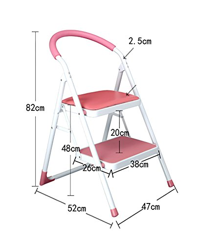MS Suitable for Adult and Children Training Folding Ladder with Handle Indoor Portable Ladder/Footstool/Storage Bracket/Flower Stand - Step Stool Step Stool Retractable Ladder (Color : Pink)