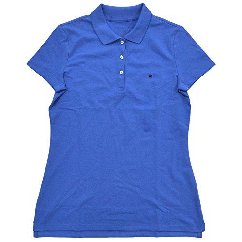 Tommy Hilfiger Women's Classic Fit Logo Polo T-Shirt (X-Large, Dory Blue) - Logo Golf Shirt