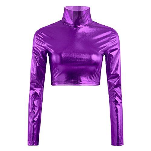 Metallic Sleeveless T-shirt - FEESHOW Women Metallic Liquid Mock Neck Turtleneck Long Sleeve/Sleeveless Crop Top Purple S