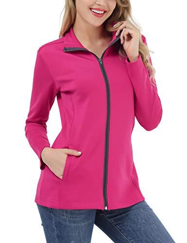FISOUL Women's Lightweight Full Zip Running Sport Jacket High Collar Workout Track Jacket with Pockets Plum S