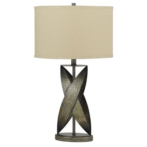 Cal Lighting BO-2177TB Table Lamp with Beige Fabric Shades, Coppery Finish, 21