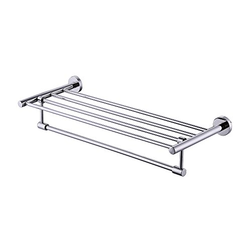 (KES Bath Towel Rack With Rotatable Towel Bar 24 Inch SUS 304 Stainless Steel Bathroom Storage Organizer Shelf RUSTPROOF Wall Mount Polished Finish, A2115S60)