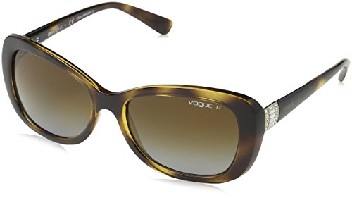 VOGUE Women's Plastic Woman Rectangular Sunglasses, Dark Havana, 54.7 mm