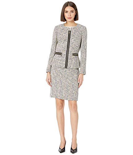 Tahari by ASL Women's Novelty Tweed Skirt Suit Ivory/Black/Yellow 14 - Ivory Womens Skirt Suit