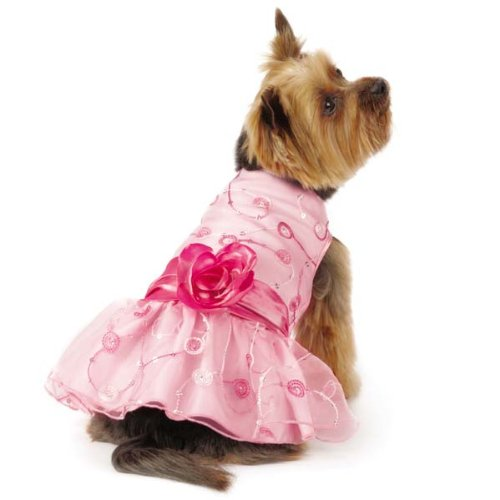 - East Side Collection ESC Elegance Rosette Dress, Small, Pink
