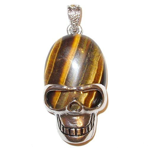Tigers Eye Pendant 03 Cool Aviator Skull Crystal Courage & Protection Stone 2