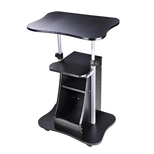 AMPERSAND SHOPS Multipurpose Height Adjustable Mobile Rolling Laptop Notebook Stand Lectern Standing Desk with Storage Shelf (Black) by AMPERSAND SHOPS