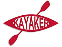 Rot Kajak mit One gekreuzte Paddel geformte Kayaker Aufkleber (Ruder Kayaking)