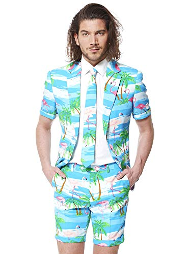OppoSuits Men's Summer Suit - Flaminguy - Includes Shorts, Short-Sleeved Jacket & Tie