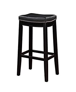 Amazon Com Linon Claridge Bar Stool Black Kitchen Amp Dining