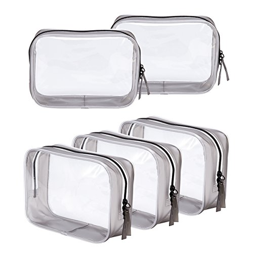 Clear Toiletry Carry Pouch with Zipper Portable PVC Waterproof Cosmetic Bag for Vacation Travel Bathroom and Organizing (5 Large)